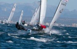 Nacra 17 klasse die tijdens regatta in palmade Mallorca detail varen Royalty-vrije Stock Fotografie