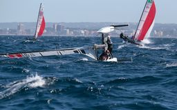 Nacra 17 klassenomzet tijdens regatta in palma DE Mallorca Royalty-vrije Stock Foto