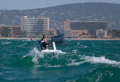 Nacra 17 klassenomzet tijdens regatta in palma DE Mallorca Stock Fotografie