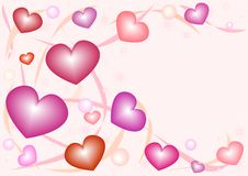 Nacreous hearts. Pink nacreous gentle hearts against a pattern from lines and balls Royalty Free Stock Photos
