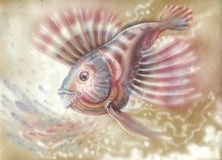 Nacreous small fish. Drawn with a spiral of water drops on a craft paper royalty free illustration