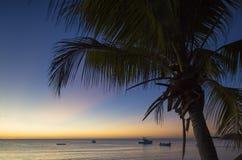 Nacula ö på solnedgången, Yasawa öar, Fiji Arkivfoto