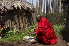 Naczelny klęczenie w krall w Maasi wiosce, Ngorongoro Conservatio Zdjęcia Royalty Free