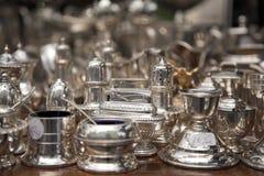 naczyń rynku srebra stół Obrazy Stock