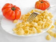 naczynia świezi orecchiette pomidory biały Obraz Royalty Free