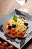 naczynia świezi spaghetti pomidory fotografia stock
