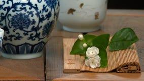 Naczynia dla herbacianej ceremonii Zakończenie stół dla herbacianej ceremonii, naczyń i akcesoriów, Zdjęcie Stock