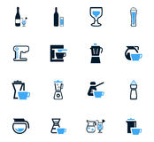 Naczynia dla napój ikon ustawiać zdjęcia stock