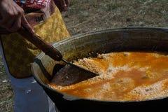 naczynia krajowy pilaf uzbek bliskowschodni lub Indiański naczynie ri zdjęcia stock