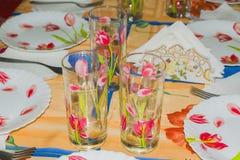 Naczynia na stole dla świątecznego gościa restauracji lub lunchu Fotografia Royalty Free