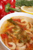 Naczynia śródziemnomorska kuchnia od warzyw i garneli Obraz Royalty Free