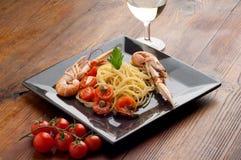 naczynia scampi spaghetti Zdjęcie Stock