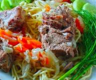 Naczynia shpageti domowi mięśni warzywa Obraz Stock