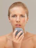 naczynia twarzy metalu portreta skruber używać kobiety Obraz Stock