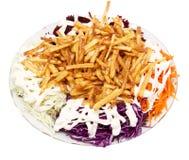 Naczynie dłoniaki z majonezem i warzywami na białym tle fotografia stock