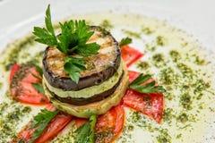 Naczynie oberżyna pomidory i zucchini Obrazy Royalty Free