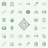 naczynie ręcznika ikona Piekarni ikon sklepowy ogólnoludzki ustawiający dla sieci i wiszącej ozdoby ilustracja wektor