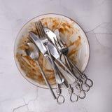 Naczynie resztki z knifes, rozwidleniami i łyżką, Obraz Stock