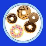 Naczynie z donuts ilustracja wektor