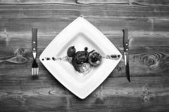 Naczynie z nowożytną prezentacją na kwadrata talerzu Piec wieprzowina stek obrazy royalty free