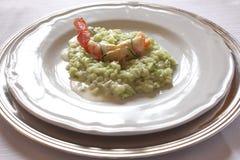 Naczynie z włoszczyzna stylu garnelą i zucchine risotto Fotografia Royalty Free
