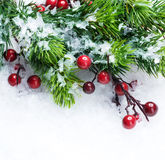 nad śnieżnym drzewem tło boże narodzenia obrazy stock