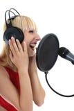 nad śpiewacką białą kobietą fotografia royalty free