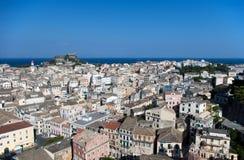 nad dachu widok Corfu kapitałowy kerkyra s Zdjęcia Stock