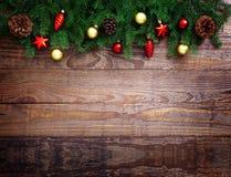 Nad drewnianym tłem bożenarodzeniowa dekoracja Dekoracja rocznik Obraz Stock