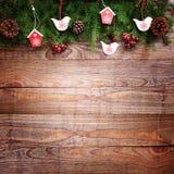 Nad drewnianym tłem bożenarodzeniowa dekoracja Dekoracja rocznik Obraz Royalty Free