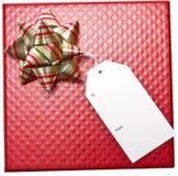 nad etykietka czerwonym biel pudełkowaty prezent Zdjęcia Stock