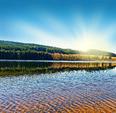 nad jeziorny wschód słońca Obrazy Stock