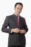 nad kostiumu biel tło azjatykci atrakcyjny mężczyzna Obraz Stock