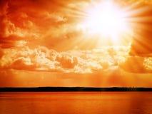 Nad morzem czerwony zmierzch Zdjęcie Royalty Free