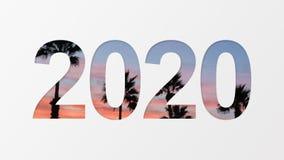 2020 nad palmowym tłem ilustracja wektor