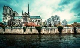 nad Paris wontonem bridżowy pejzaż miejski Notre Damae gothic katedra w zima dniu Fotografia Royalty Free