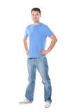 nad pozycja koszulowym biel błękitny mężczyzna t Zdjęcia Stock