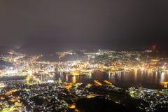 Nad przyglądającymi miast światłami Nagasaki, Japonia jako scena od MT ina Obraz Stock