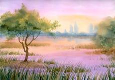 nad purpurami jeziorna mgła ilustracji