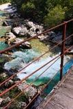 nad rzecznym soca wysokogórski bridżowy isonzo Zdjęcie Stock