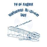 NAD_simple. The nineteenth of August is the National Aviation Day. Abstract vector illustration with an airplane of the Wright brothers and an air propeller in a Stock Image