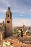 Nad spojrzenia Nowy Katedralny Dzwonkowy wierza Salamanca fotografia royalty free