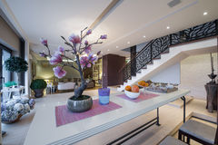 Nad stołowym widokiem luksusowy mieszkania wnętrze Obrazy Stock