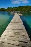 nad tropikalny drewnianym plażowy jetty Zdjęcia Stock