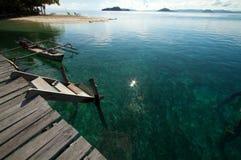 nad tropikalny drewnianym plażowy jetty Obrazy Royalty Free