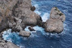 nad widok falezy Cyclades Greece wyspy wysp Oia santorini morza widok Obraz Stock