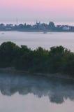 nad wodą łąkowy mgła ranek Obraz Royalty Free