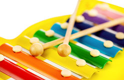 nad zabawkarskim biały ksylofonem kolorowa tło zabawa Obrazy Royalty Free