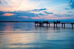 nad zmierzchem piękny jezioro Fotografia Royalty Free