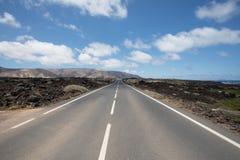 Nada erradamente com as estradas em Lanzarote Imagem de Stock